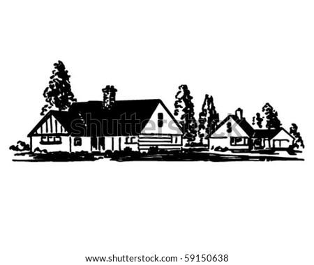 House 1 - Retro Clip Art - stock vector