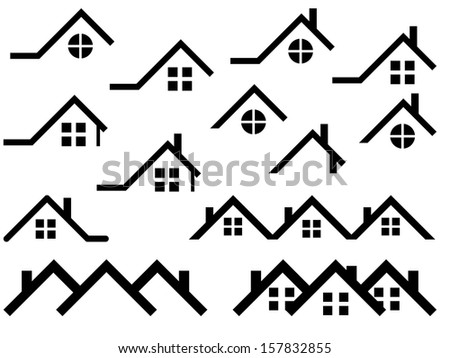 House roof set illustrated on white - stock vector