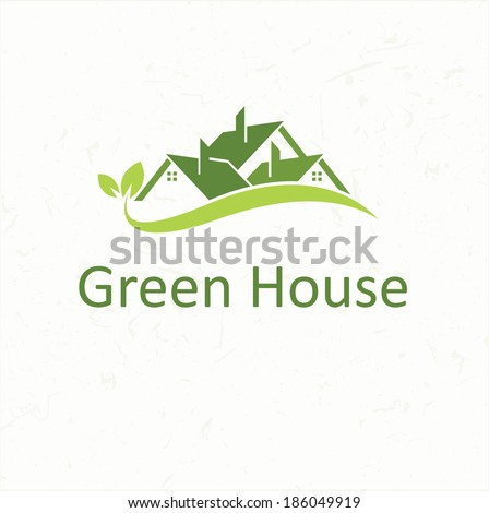 House roofs for real estate business Green House - stock vector