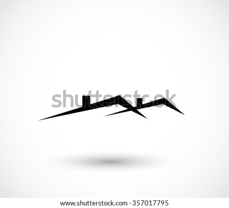 House roofs icon vector - stock vector