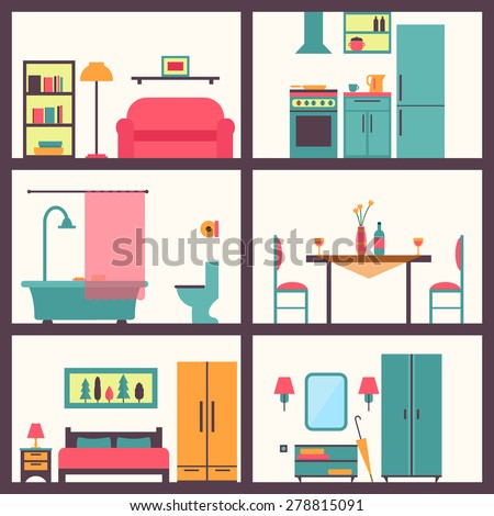 House rooms with furniture icons. Flat style vector illustration. - stock vector