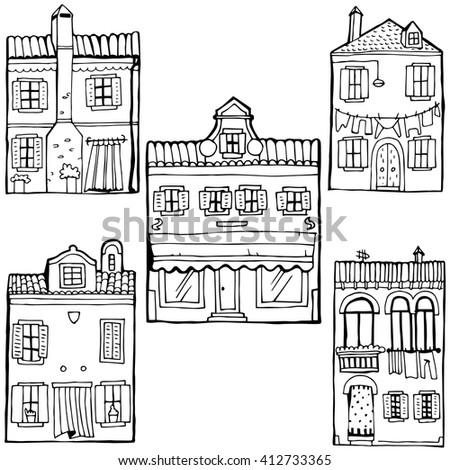 House set. Island Burano. Venice. - stock vector