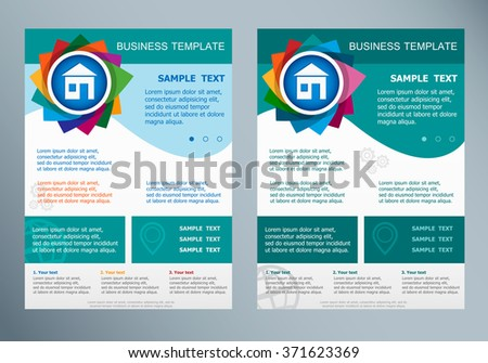 House Sign On Abstract Vector Flyer. Brochure Design Template.