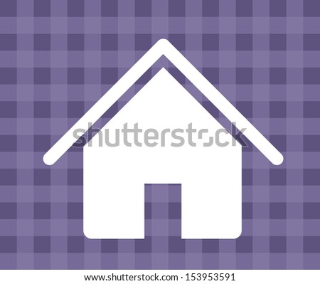 house silhouette over grid background vector illustration - stock vector