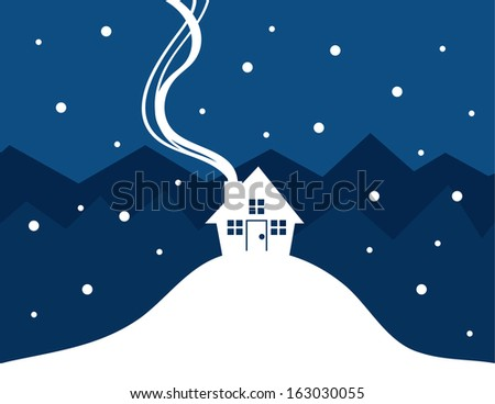 House silhouette with show falling  - stock vector