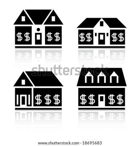 House silhouettes with dollar signs in windows. - stock vector