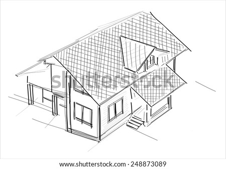 House sketch - stock vector
