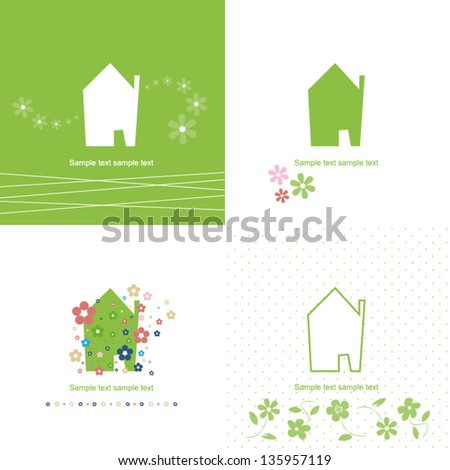 house symbol - green / ecology - stock vector