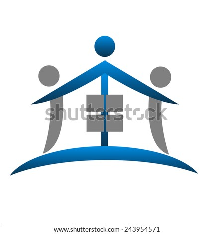 House teamwork real estate identity business card icon logo vector symbol - stock vector