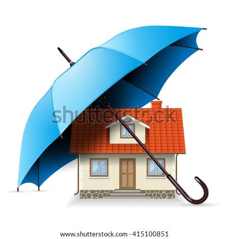 House under an Umbrella. Security Concept, Illustration Icon, vector. - stock vector