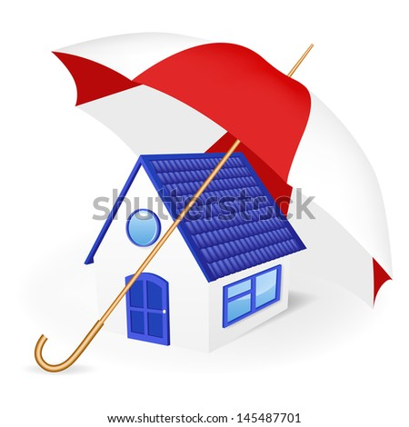 House under an umbrella. Vector illustration