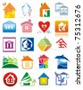 House vector Icons for Web. Construction or Real Estate concept. - stock photo