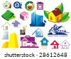 House vector Icons for Web. Construction or Real Estate concept. Abstract color element set of corporate templates. Just place your own brand name. Collection 5. - stock vector
