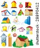 House vector Icons for Web. Construction or Real Estate concept. Abstract color element set of corporate templates. Just place your own brand name. Collection 7. - stock vector