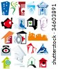 House vector Icons for Web. Construction or Real Estate concept. Abstract color element set of business templates. Just place your own company name. Collection 11. - stock vector