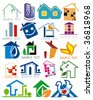 House vector Icons for Web. Construction or Real Estate concept. Abstract color element set of corporate templates. Just place your own brand name. Collection 14. - stock vector
