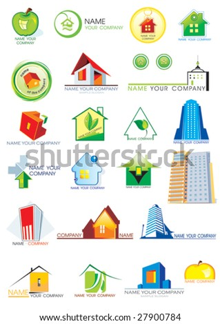 House vector Icons for Web. Construction or Real Estate concept. Abstract color element set of corporate templates. Just place your own brand name. - stock vector