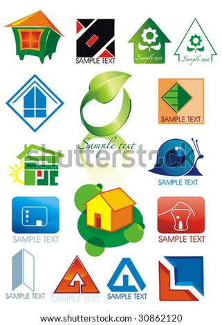 House vector Icons for Web. Construction or Real Estate concept. Abstract color element set of corporate templates. Just place your own brand name. Collection 8.