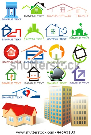 House vector Icons for Web. Construction or Real Estate concept. Abstract color element set of corporate templates. Just place your own name. Collection 20. - stock vector
