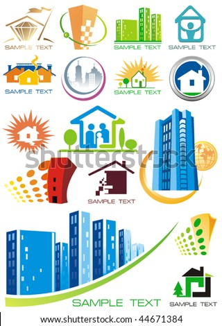 House vector Icons for Web. Construction or Real Estate concept. Abstract color element set of corporate templates. Just place your own name. Collection 21. - stock vector