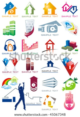 House vector Icons for Web. Construction or Real Estate concept. Abstract color element set of corporate templates. Just place your own name. Collection 22. - stock vector