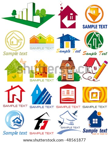 House vector Icons for Web. Construction or Real Estate concept. Abstract color element set of corporate templates. Just place your own name. Collection 25.