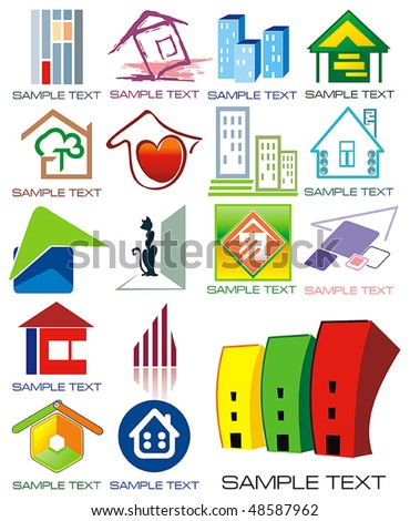 House vector Icons for Web. Construction or Real Estate concept. Abstract color element set of corporate templates. Just place your own name. Collection 6.
