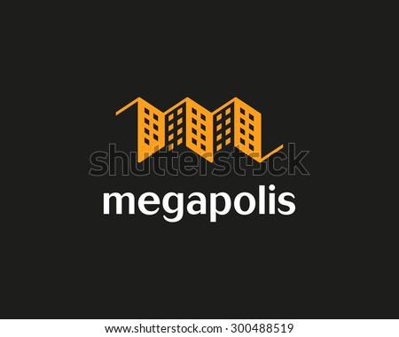 House vector logo design template. Real estate negative space symbol. Construction architecture icon. - stock vector