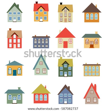 House vector set simple home illustration stock vector 587082737 shutterstock - Images simple home ...