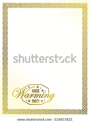 house warming party gold frame background sign illustration design graphic - stock vector
