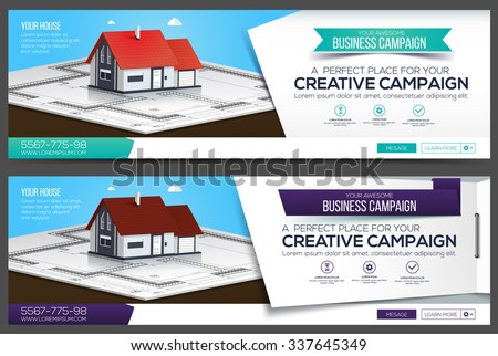 House Web Banner, Header Layout Template. Creative cover. Web Banner. - stock vector