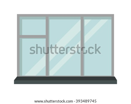 House window and glass window architecture square view. Glass window vector. Window interior frame glass construction isolated flat vector illustration.  - stock vector