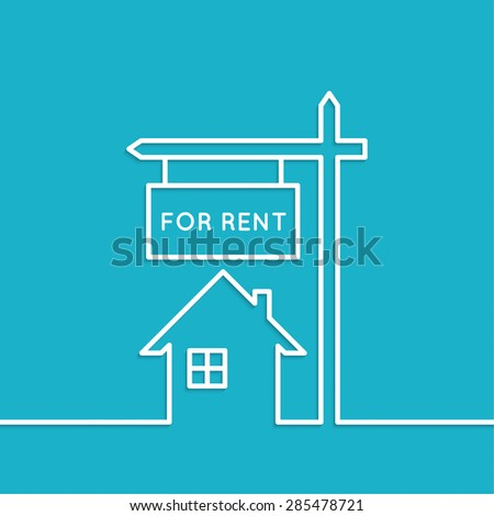 House with a sign for rent. Rental housing. real estate logo. blue background. minimal. Outline. - stock vector