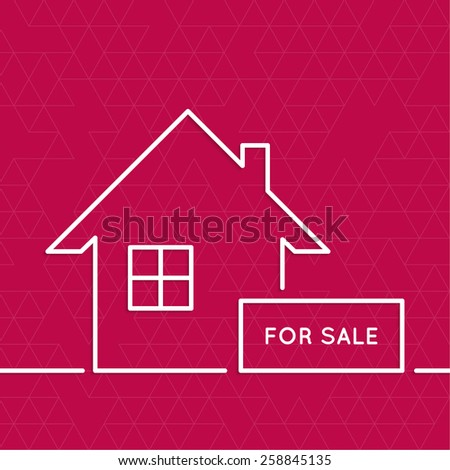 House with a sign for sale. Rental housing. real estate logo. red. minimal. Outline. - stock vector