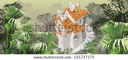 house with a tiled roof in a tropical forest, card (vector illustration) - stock vector