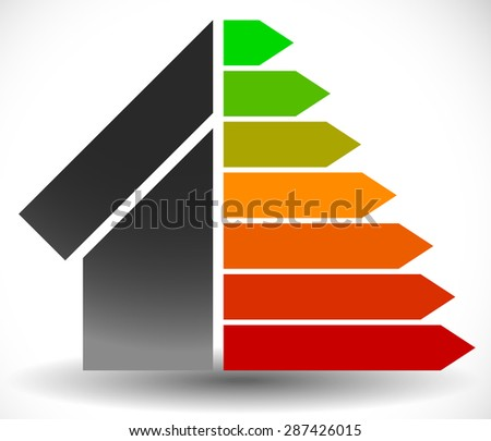 House with Energy Rating Certificate, Energy Performance Certificate - stock vector