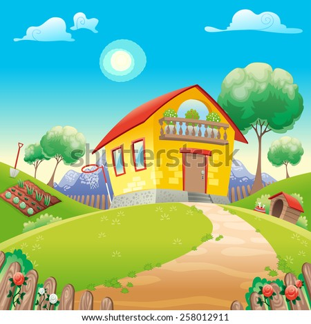 House with garden int the countryside. Vector cartoon illustration - stock vector