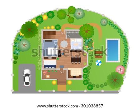 House Garden Layout Vector View Above Stock Vector 301038857