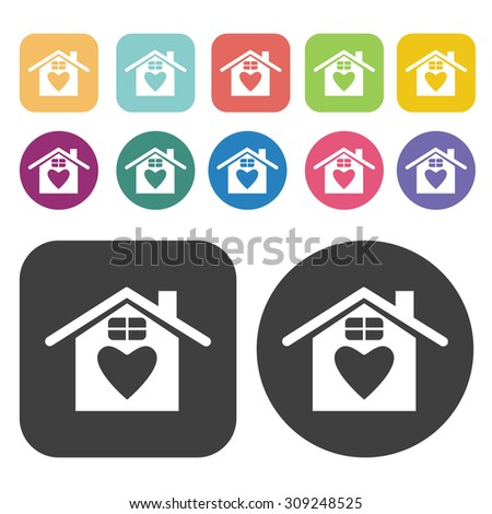 House with heart icons set. Vector Illustration eps10 - stock vector