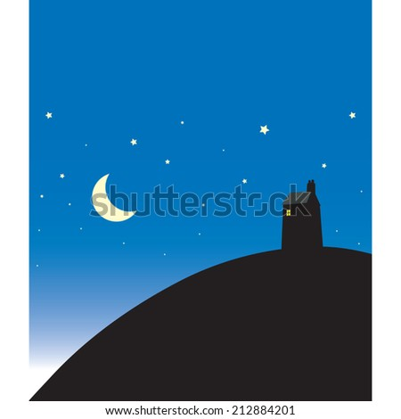 House with light on in night time scene with moon and stars vector illustration. - stock vector