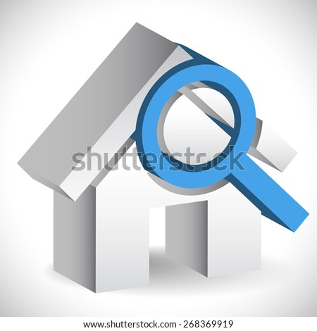 House with Magnifier. Icon for real estate, renovation, searching for a house concepts. - stock vector