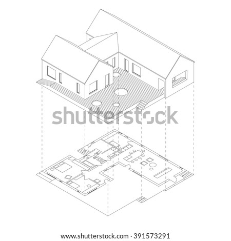 House with plan projection on white background. Isometric line illustration of sketch house. - stock vector