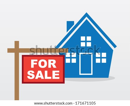 House with red for sale sign outside  - stock vector