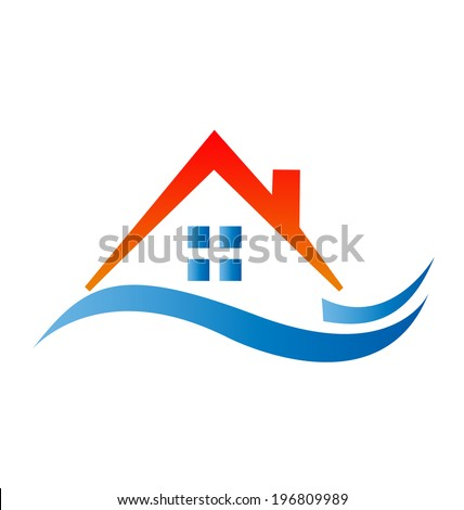 House with red roof vector icon - stock vector