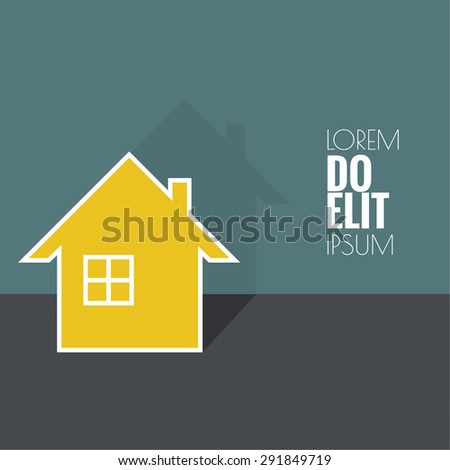House with shadow and space for text.  Icon of real estate. Sign for business card of realtor agency.  flat design. minimal. - stock vector