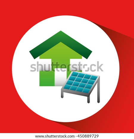 house with solar panel and sun, green concept, vector illustration