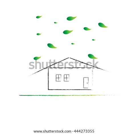House with Spring season, comfortable day weather forecast icon, illustration vector.