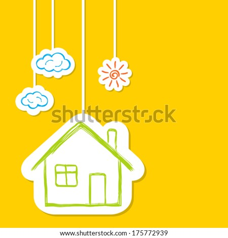 House with sun and clouds in doodle style - stock vector
