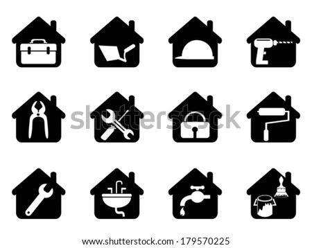 house with tools icon - stock vector