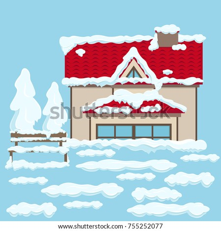 house two floors red roof beige stock vector 755252077 shutterstock